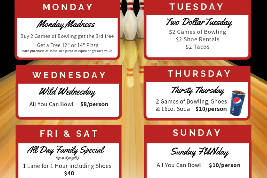 daily deals summer 2019 | bowling deals | family entertainment | family fun on a budget | super bowl | appleton, wi | appleton, wi