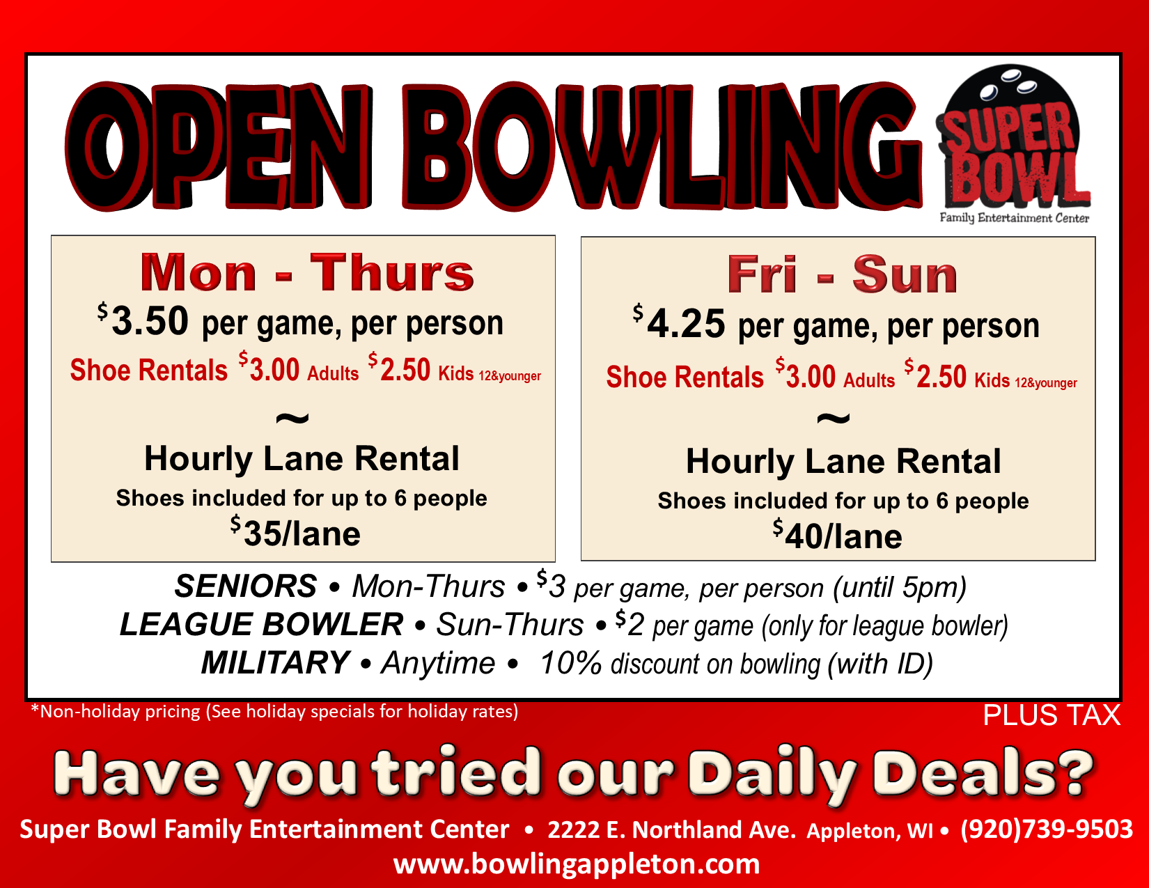 open bowling | open bowling prices | open bowling rates | bowling alley near me | open lanes near me | appleton, wi | super bowl family entertainment center