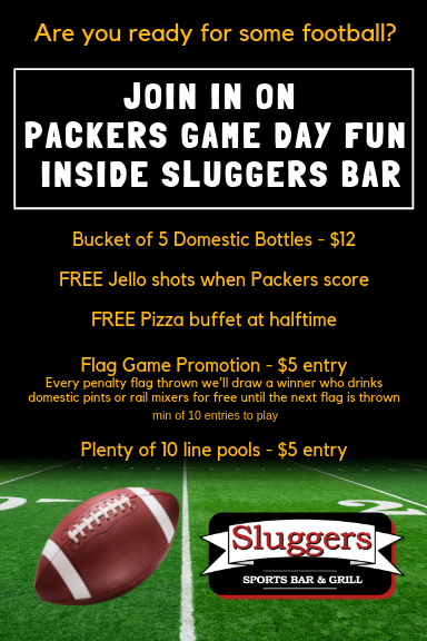 Game Day Specials | Free Pizza at halftime | Domestic Beer Specials | Sluggers Sports Bar & Grill | Appleton WI