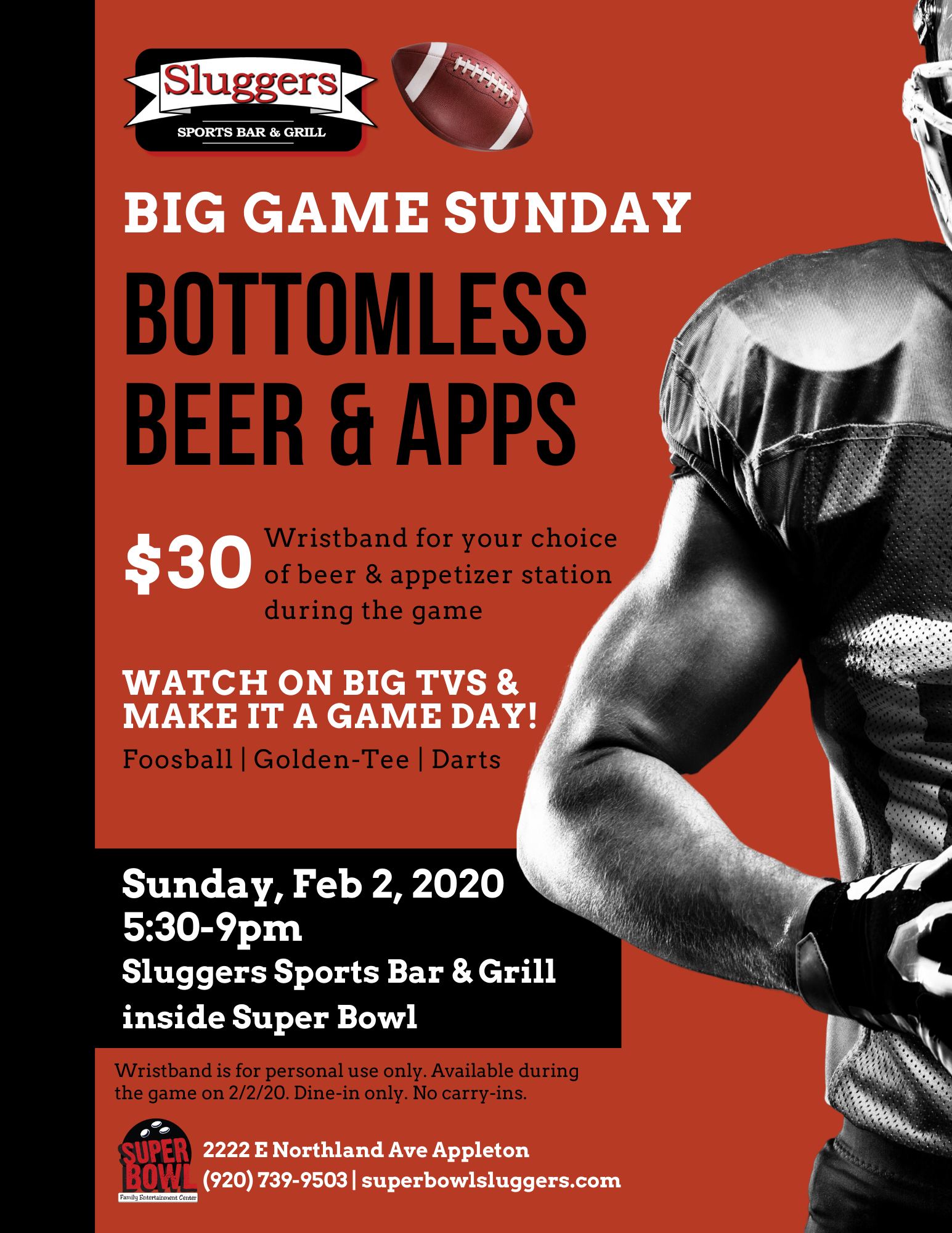 big game sunday | beer and appetizer deal | february 2020 | sluggers sports bar & grill | appleton, wi