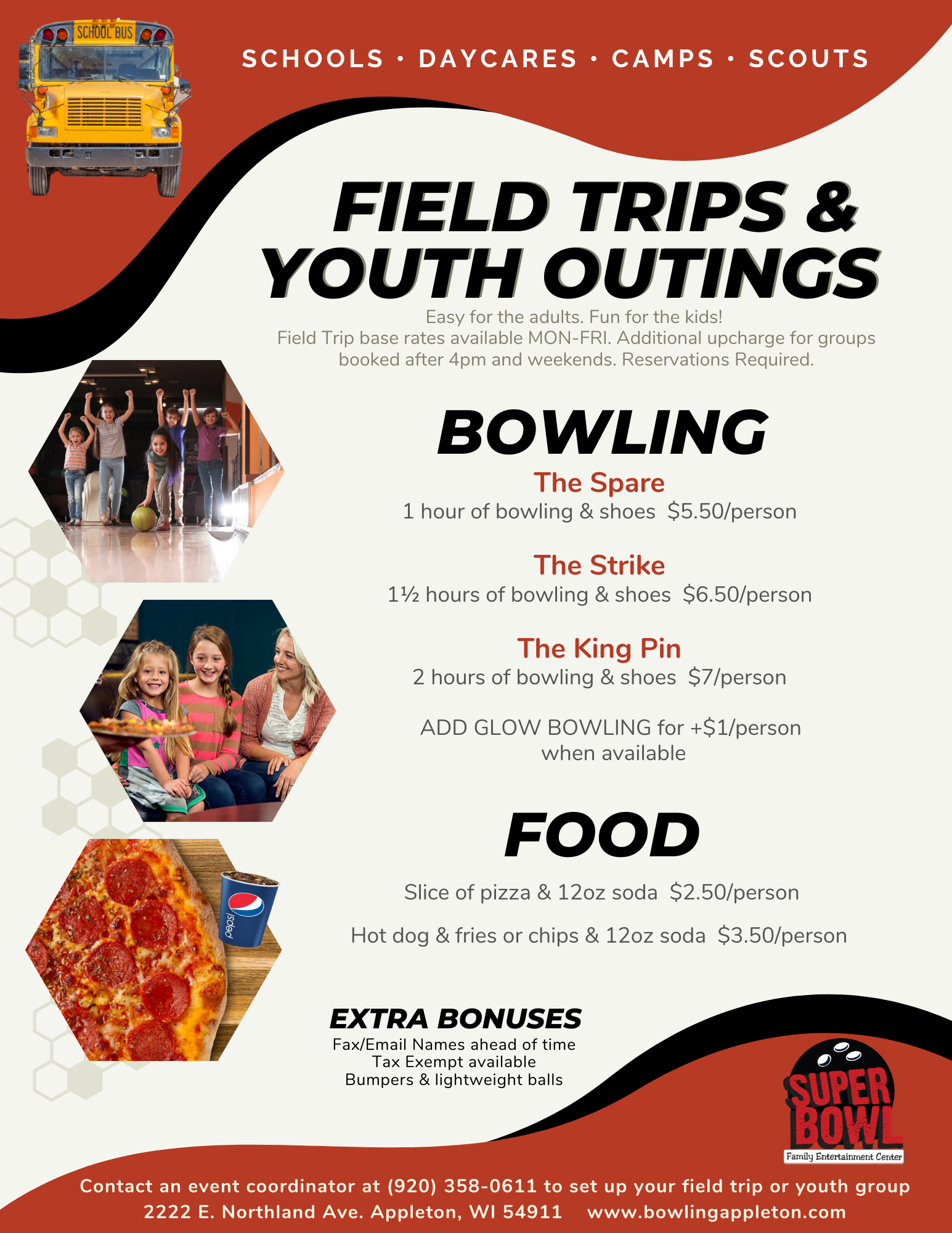 Field Trips | Youth Outings | Sports Team Parties | Scout outings | School trips