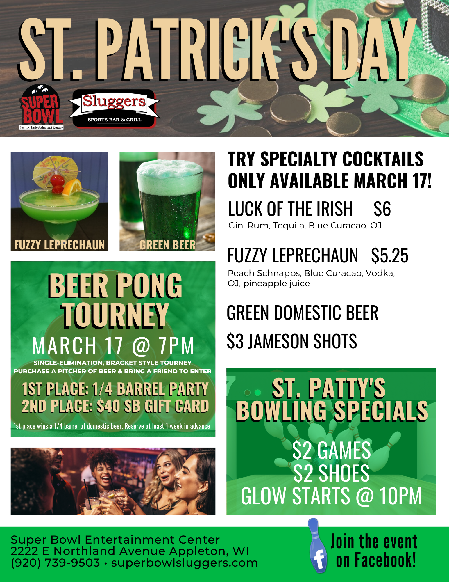 st. patrick's entertainment options for all | st. patrick's day flyer 2020 | beer pong tourney | drink specials | sluggers sports bar & grill | inside super bowl | appleton, wi