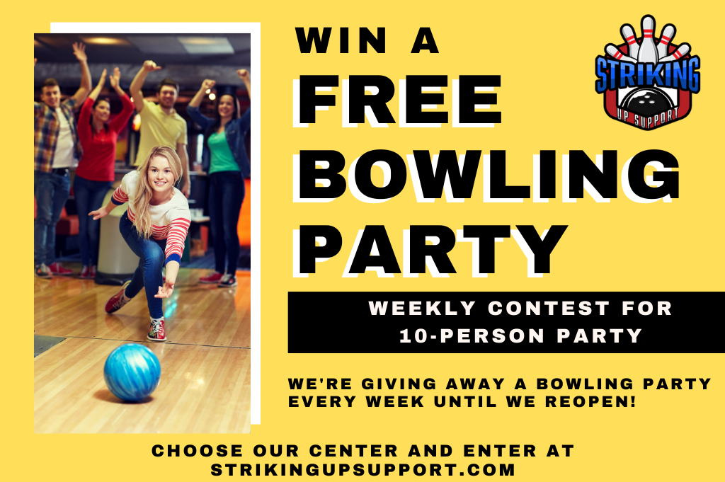 win a bowling party for when we reopen | supporting small during corona | striking up support | free bowling contest | super bowl family entertainment center | appleton, wi