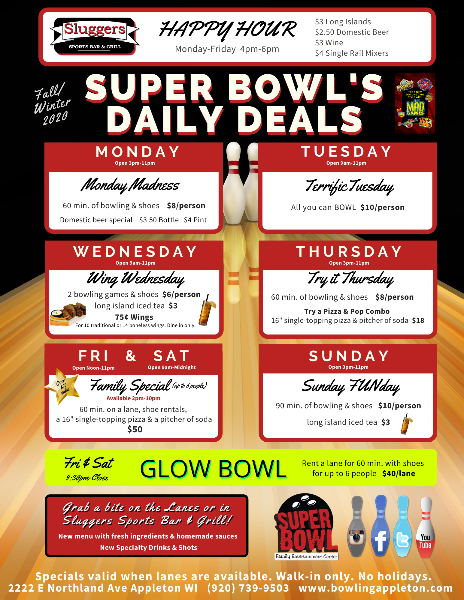 Super Bowl's Walk in Daily Deals | Fall 2020 Daily Deals | Open Bowling Deals | Fun things to do with Family | Appleton, WI