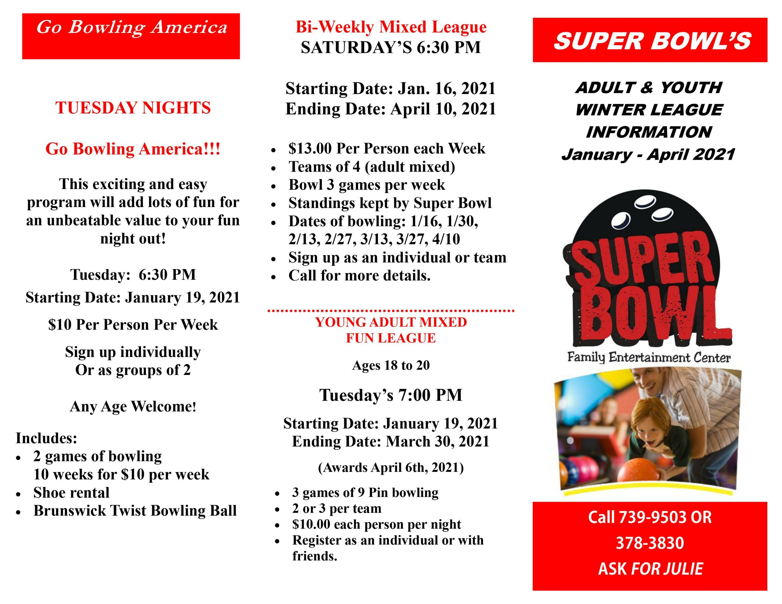 adult/youth bowling leagues | adult leagues | January 2021 | Super Bowl Family Entertainment Center | Appleton, WI