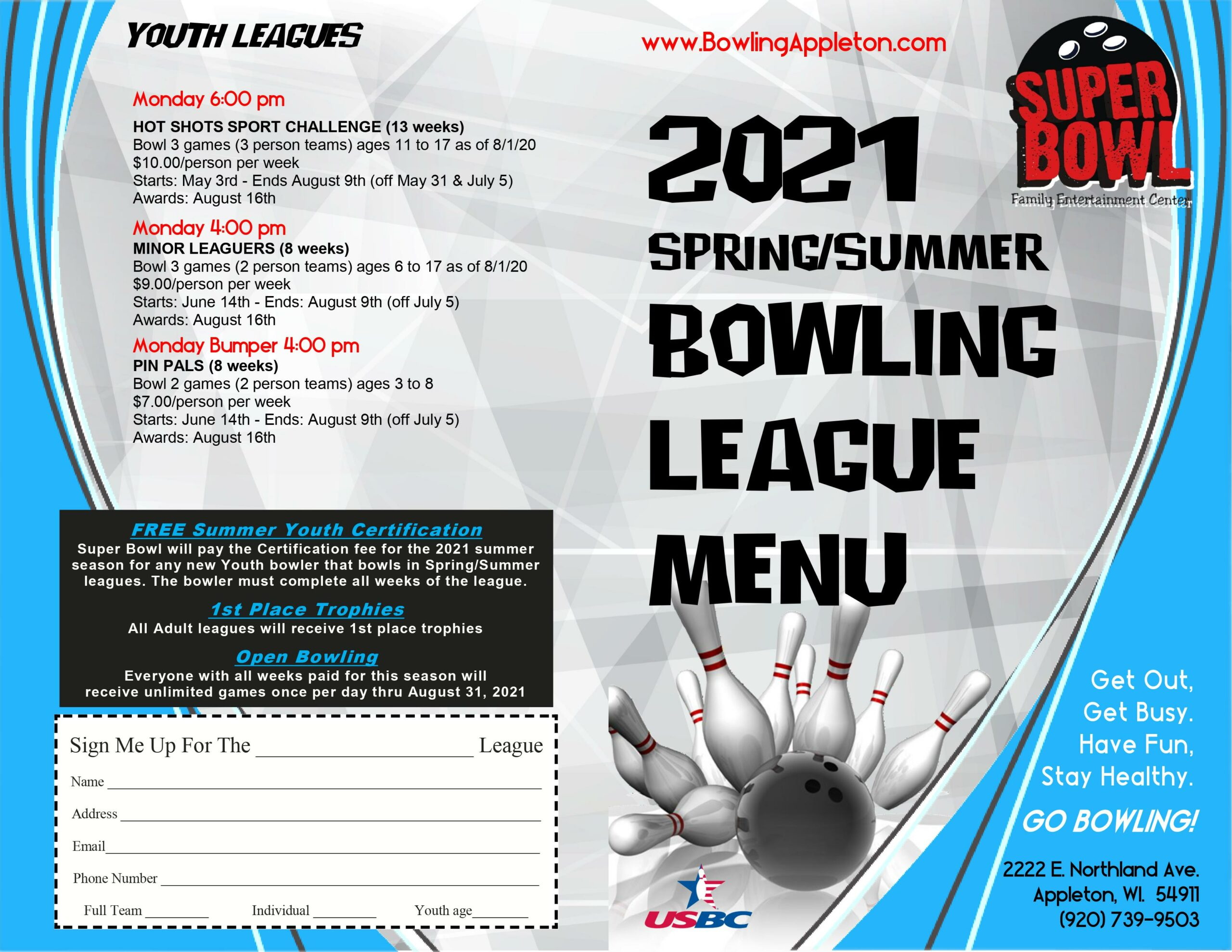 Spring/Summer 2021 bowling leagues | youth leagues | youth bowling leagues | Appleton bowling leagues | Super Bowl
