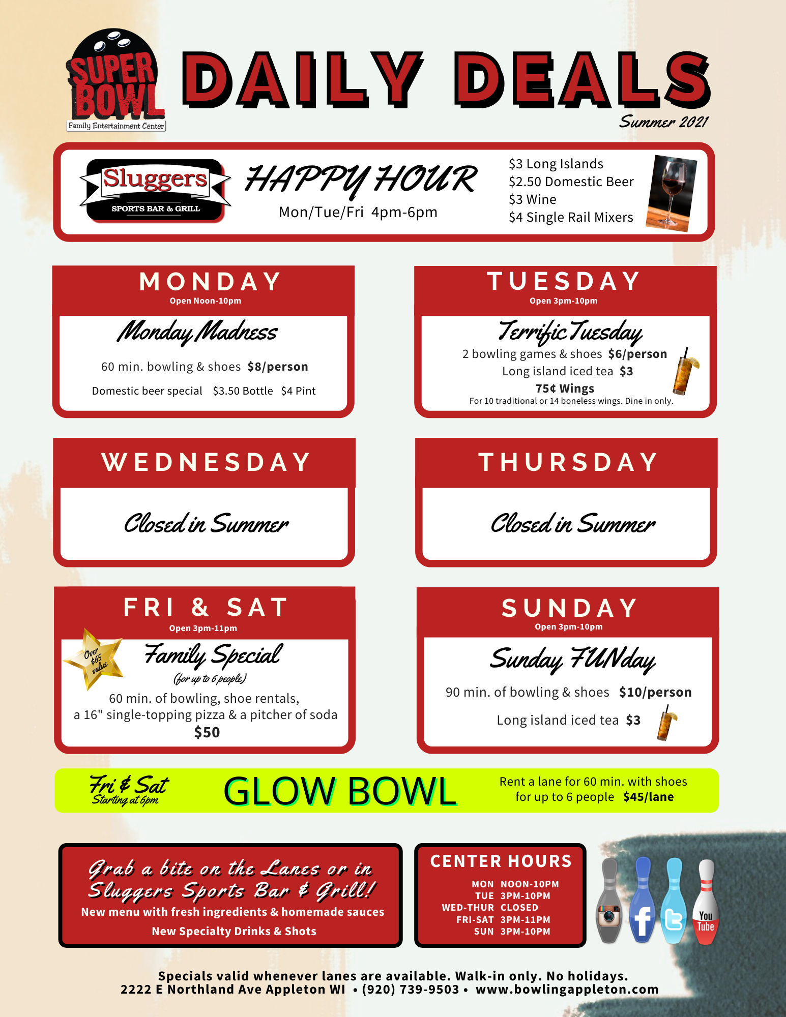 Super Bowl's Walk in Daily Deals | Spring/Summer 2021 Daily Deals | Open Bowling Deals | Fun things to do with Family | Appleton, WI
