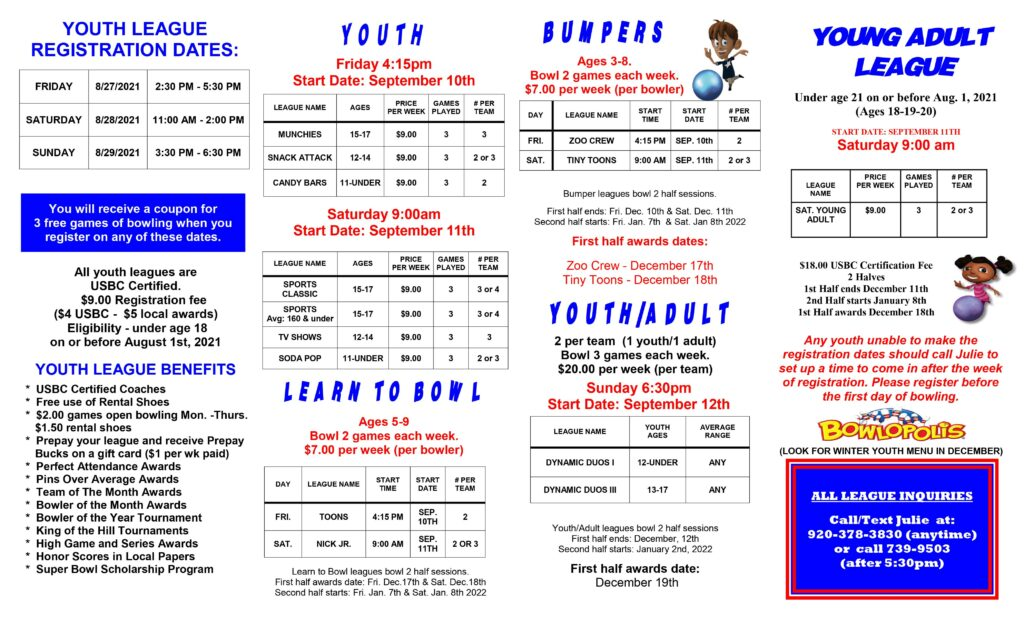 Fall 2021 youth leagues | Fall 2021 Junior leagues | Super Bowl Family Entertainment Center | Appleton WI